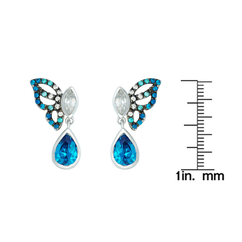 Sterling Silver Butterfly Earrings Decorated with Aquamarine Cubic Zirconia
