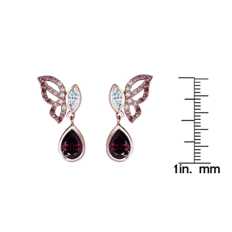 sterling silver rose gold plated butterfly earring