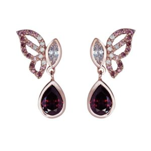 Sterling Silver Butterfly earrings with Rhodolite and CZ