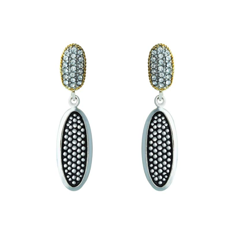 Earrings set with Swarovski crystals and 14K Yellow Gold