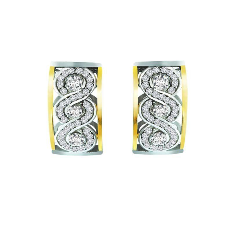 .925 Sterling Earring with swanky Swarovski swirls and 14K Gold frame