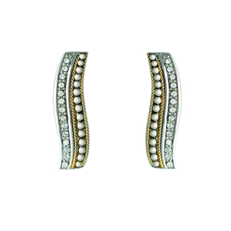 Wavy studs in Sterling and 14K Gold with Swarovski crystals