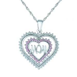 "STERLING SILVER HEART-SHAPED ""MOM"" PENDANT WITH PINK AND WHITE SAPPHIRES"