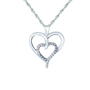 CREATED WHITE TOPAZ SET WITH TWO HEARTS PENDANT