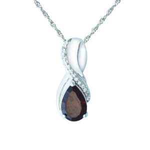 Red Garnet and Created White Sapphire stone pendant