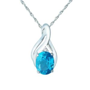 Elegant pendant with Swiss Blue Topaz and White Topaz