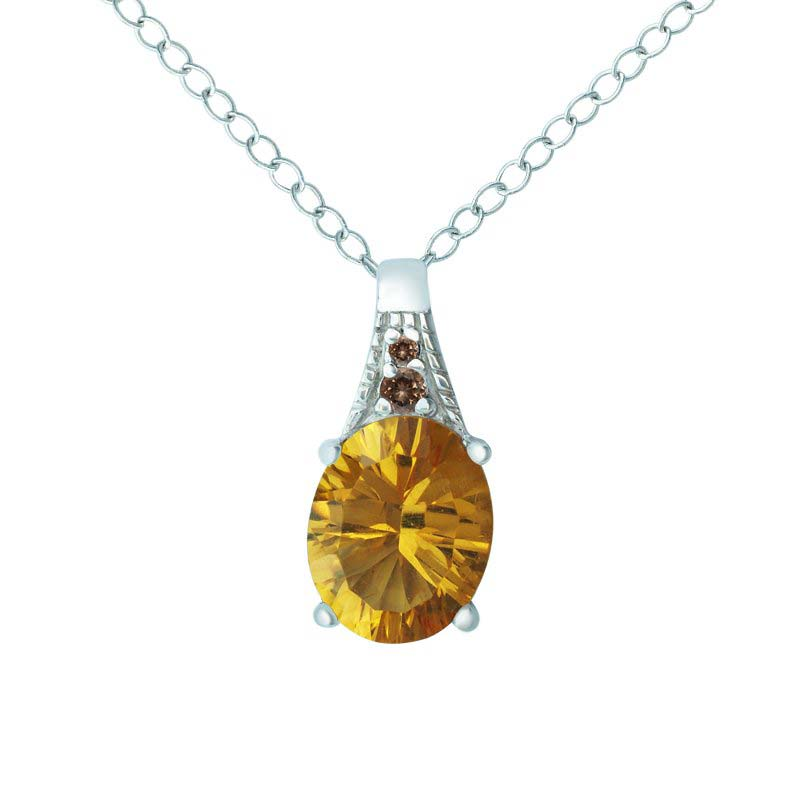 TWO-STONE GEMSTONE PENDANT – CITRINE AND SMOKY QUARTZ