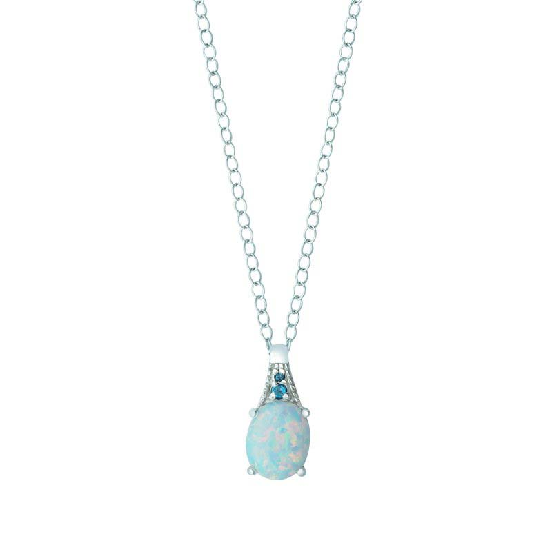 CREATED OPAL AND LONDON BLUE TOPAZ PENDANT