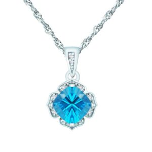 CHARMING PENDANT WITH SWISS BLUE TOPAZ AND DIAMONDS