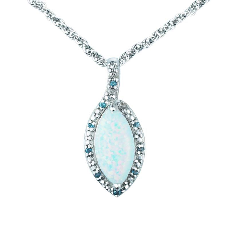 Marquise cut 6x12mm Created Opal and Swiss Blue Topaz Pendant