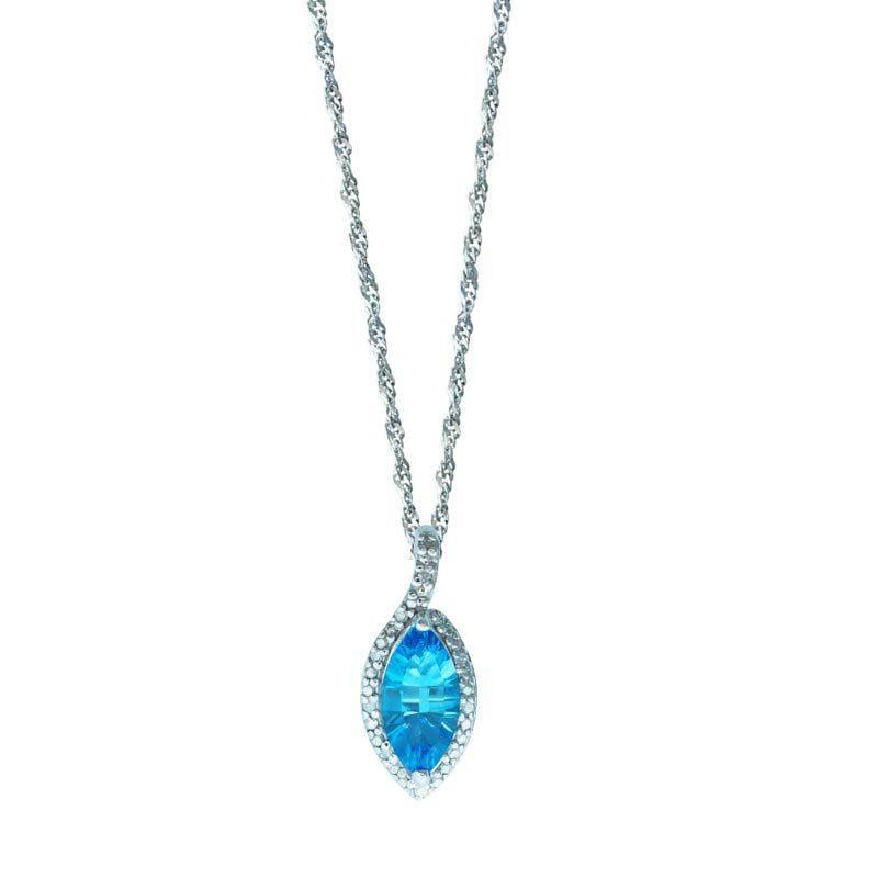 Marquise cut Swiss Blue Topaz 6x8mm with Diamonds