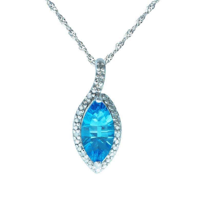 Marquise cut Swiss Blue Topaz with Diamonds