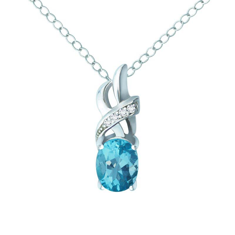 TWO-STONE PENDANT WITH SKY BLUE TOPAZ AND DIAMONDS