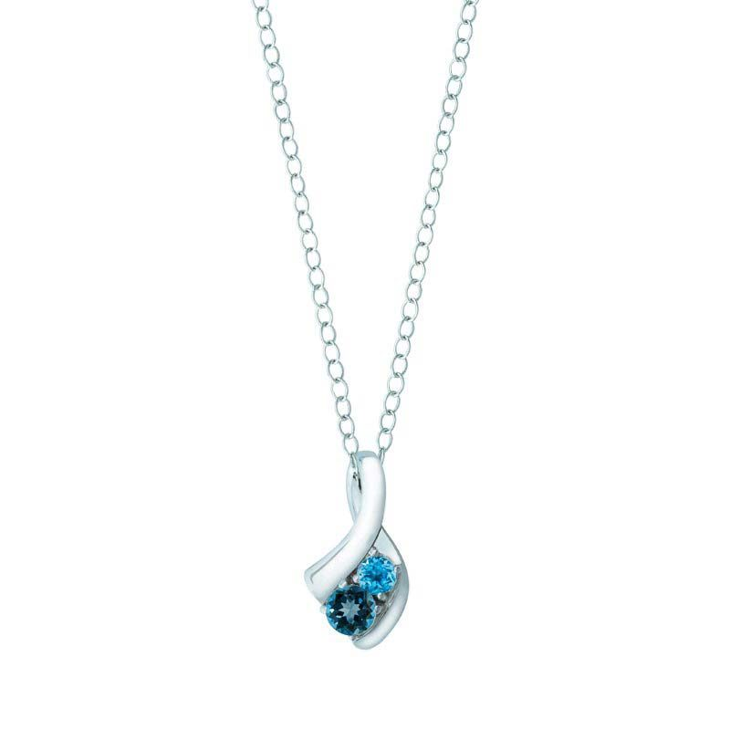 Gorgeous women's pendant with Swiss Blue and London Blue Topaz