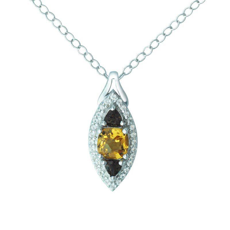 three stone pendant with citrine, smoky quartz and white sapphires