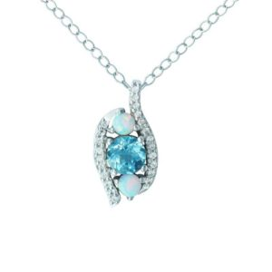 AQUAMARINE, CREATED OPAL AND WHITE SAPPHIRE PENDANT