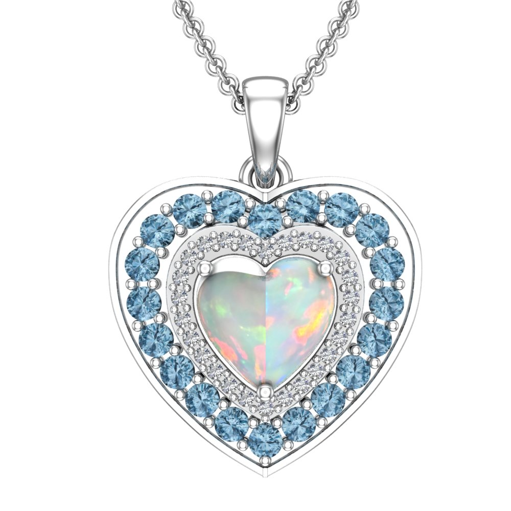 "c3af1ff3f Mother's Day Created Opal and Blue Topaz Heart Necklace with 16"" Chain"
