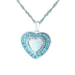 Heart shaped pendant with Created Opal, Blue Topaz and White Sapphire RSP-0340-1