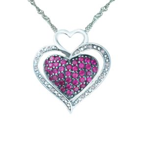 Ruby-embellished center heart pendant with CZ-encrusted