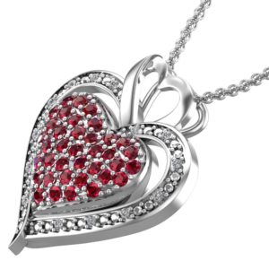 Lab-grown Ruby Encrusted Triple Heart Sterling Silver Necklace