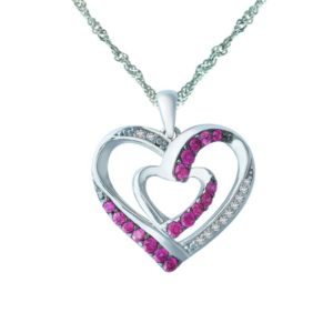 Double heart CZ and Ruby heart-pendant