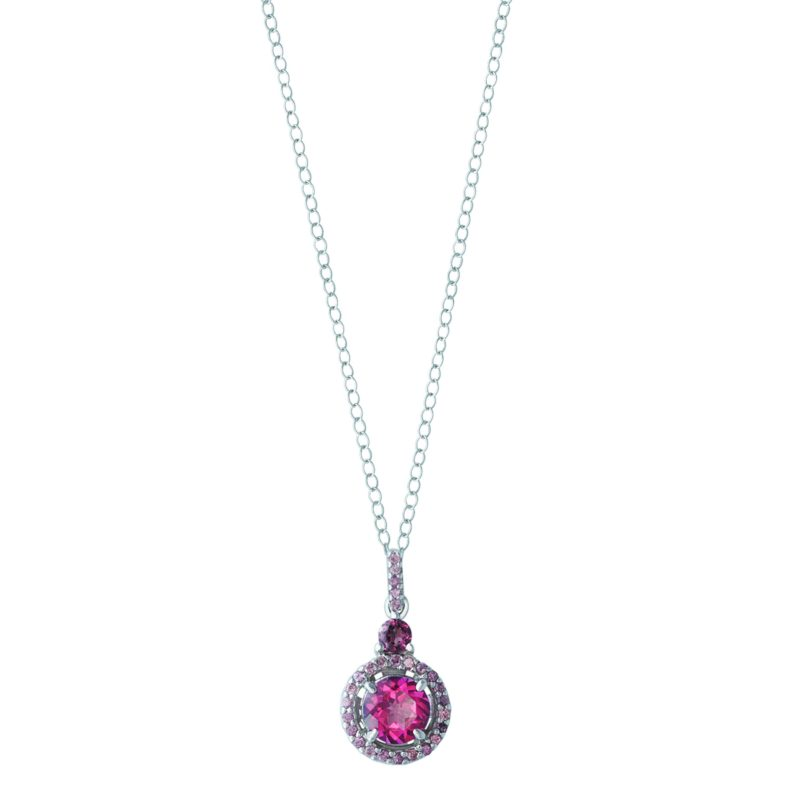 Sparkling pendant with Pink Topaz and Rhodolite Garnet