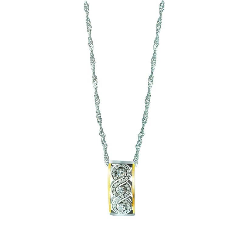 SWIRLY INLINE PENDANT WITH RIGHT SPARKLE