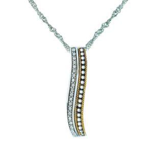 Sterling Silver & 14K Gold pendant studded with sparkling Swarovski crystals RSP-0377-1