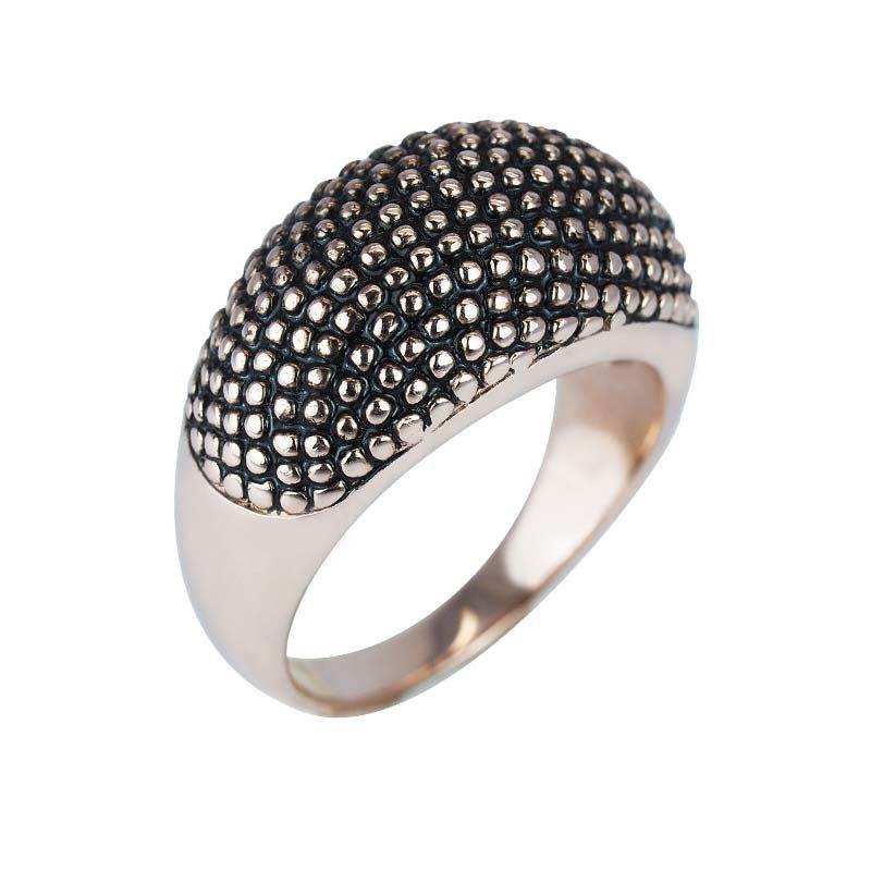 Dome shaped ring enhanced with silver bead accents
