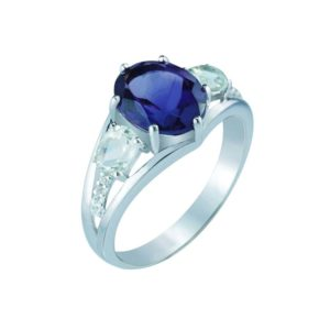 Swiss Blue Topaz center stone ring with faceted London Blue Topaz