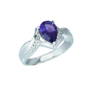 Pear-Shaped Concave Cut Amethyst and Created White Sapphire ring