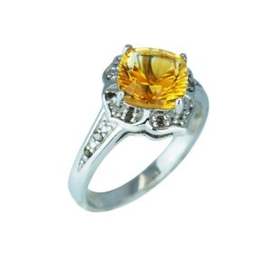 Sparkling Citrine and Smoky Quartz ring