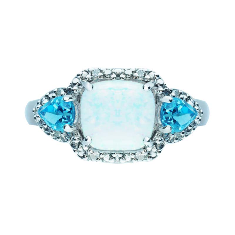 Three-stone ring with Created Opal, Swiss Blue Topaz and Diamonds