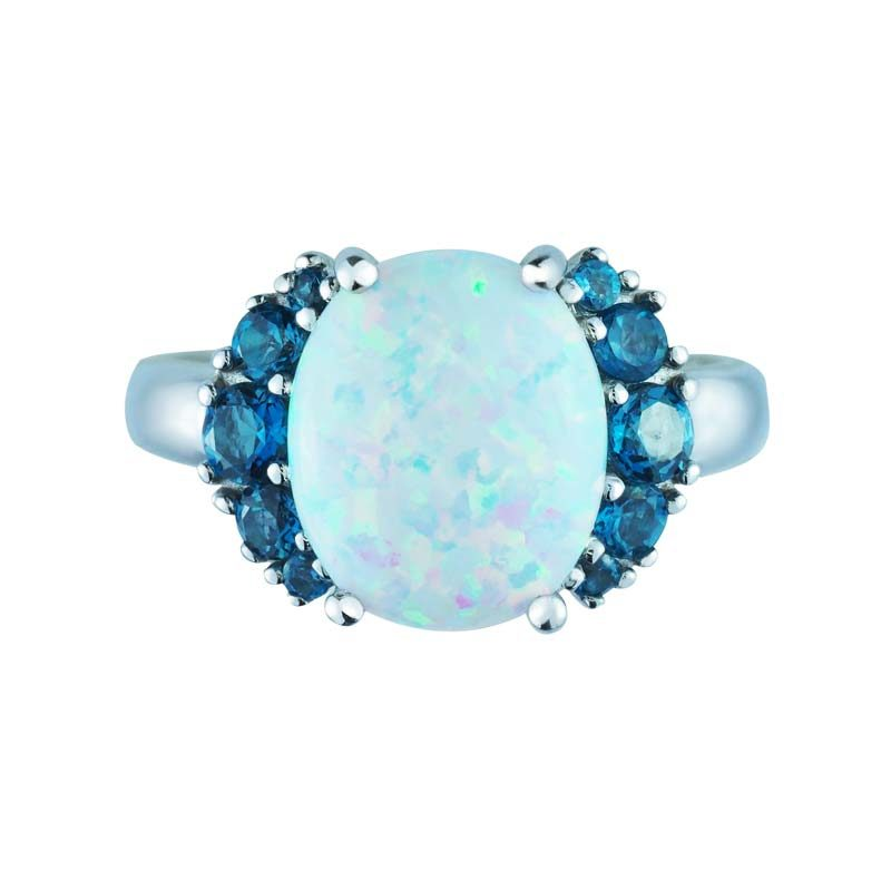 Fall-in-love ring with Created Opal and London Blue Topaz ring