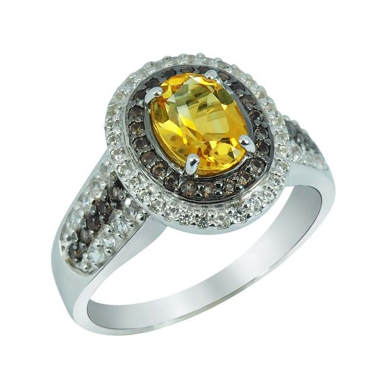 Stylish ring with Citrine in the center RSR-0381