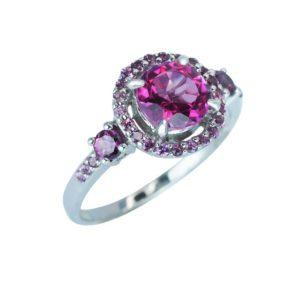 Valentine's gift ring with Pink Topaz and Rhodolite Garnet
