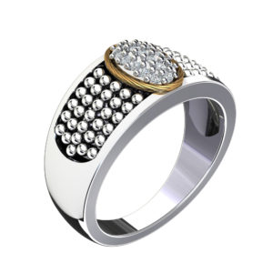 Lovely 14K Gold and Sterling Silver Ring with Swarovski crystals for Valentines Day/Anniversary