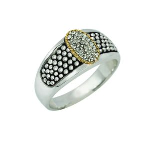 14K GOLD AND STERLING SILVER RING WITH SWAROVSKI CRYSTALS