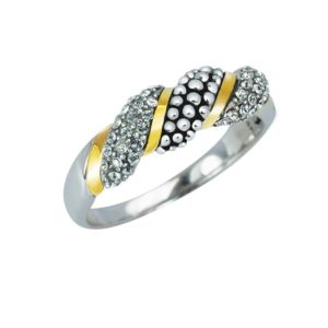 THIN 14K GOLD RIBBON ACCENT RING IN STERLING SILVER
