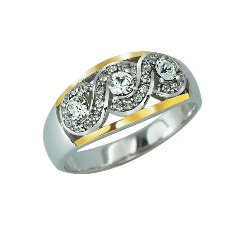 Sterling Silver and 14K Gold sparkling ring with Swarovski crystals rsr 0426