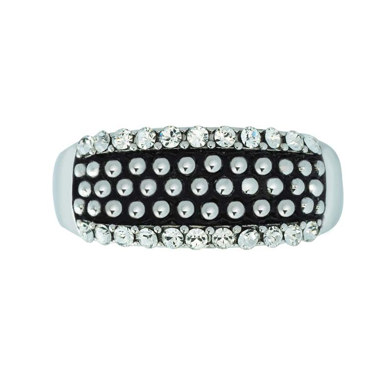 TRENDY TEXTURE RING WITH SPARKLE