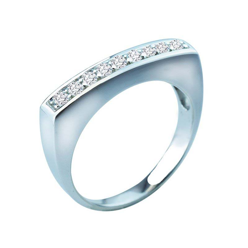 Beautiful cocktail ring with set of 9 white CZ stones RSR-0437