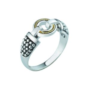 Stylish Unique Sterling Silver ring with 14K Gold Wire RSR-0440