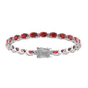 Tennis Bracelet with Oval-shaped 6x4mm Red Garnet