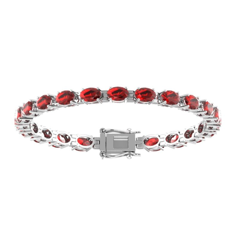 Tennis Bracelet with Oval-shaped 6x4mm Red Garnet