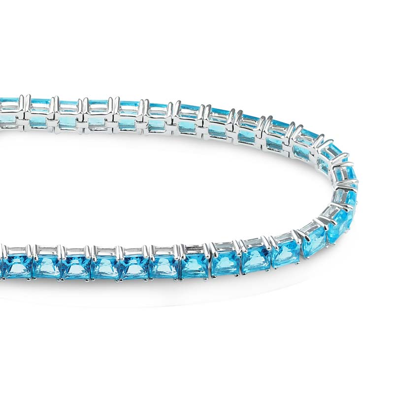 5mm square shaped Swiss Blue Topaz Tennis bracelet RSB-0025