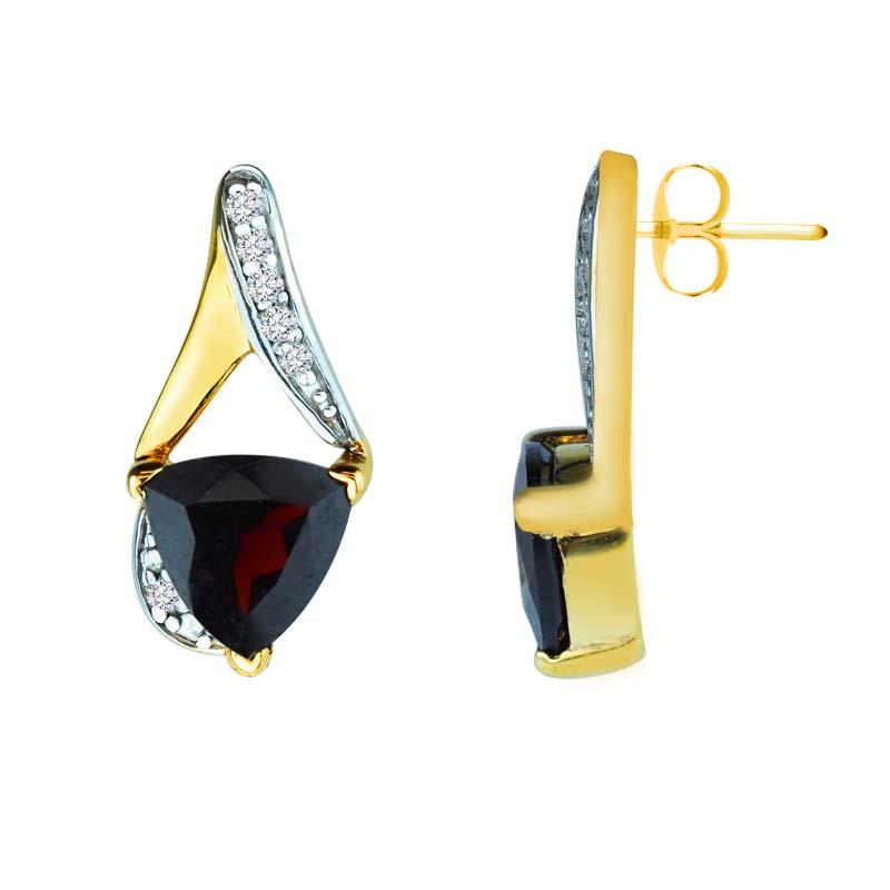 Trillion cut Red Garnet earrings with diamonds