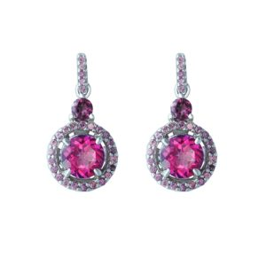 Rosy look earrings with a cute Pink topaz surrounded by Rhodolites