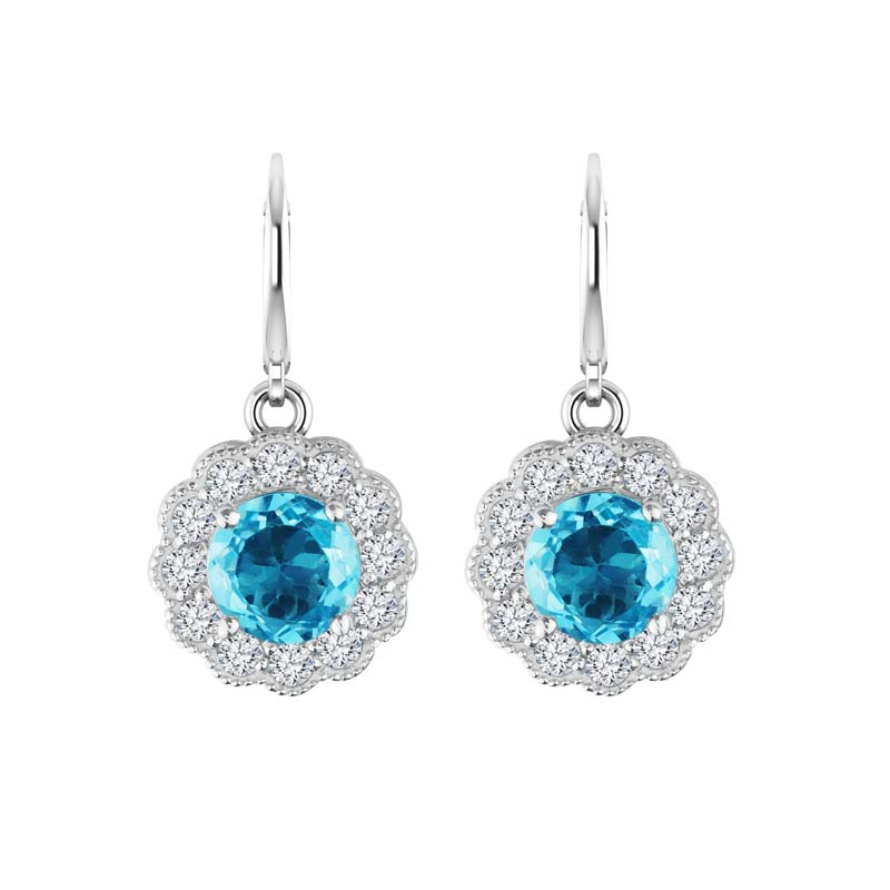 Stunning, sparkling drop earrings with Sky Blue and White Topaz