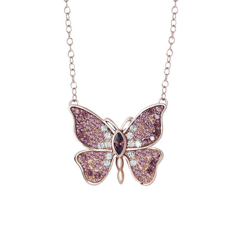 Sterling Silver Butterfly pendant in rose gold with CZ rhodolite